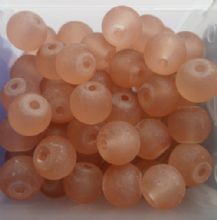 Frosted Glass Beads 6mm. Light Brown x 20